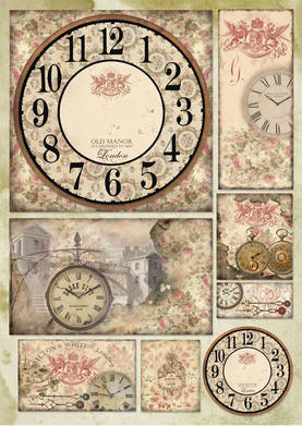 Decoupage-paperi Watch and RosesLKL - Kellotarvikkeet - DFG391 - 1