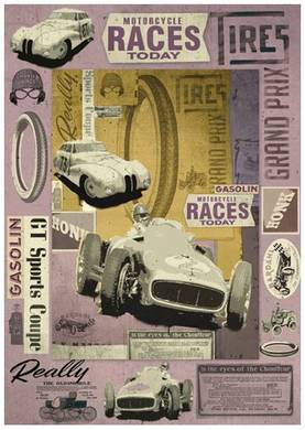 Decoupage-paperi Vintage racing carsLKL - Decoupage-paperit 50x70cm, Stamperia - DFG383 - 1