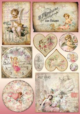 Decoupage-paperi Postcards and heartsLKL - Decoupage-paperit 50x70cm, Stamperia - DFG395 - 1
