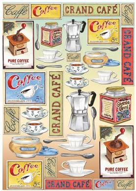 Decoupage-paperi Coffee LKL - Decoupage-paperit 50x70cm, Stamperia - DFG316 - 1