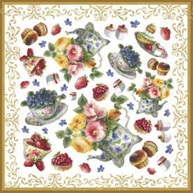 Riisipaperiservietti Teapots and flowers - Riisipaperit, Stamperia - DFT219 - 1