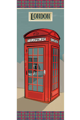 Riisipaperi 24x60cm London phone box - Riisipaperit, Stamperia - DFS211L - 1